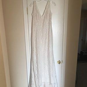Boho Lace Sheath Wedding Gown